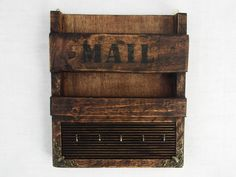 Rustic wooden wall hanging mail holder and key by RegalosRusticos, $30.00