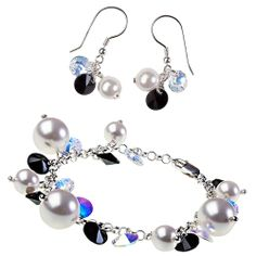 Set Black & White (bracelet and earrings) made with Swarovski® Crystals & Sterling Silver