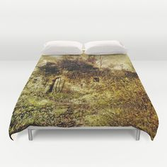 "Overgrown Duvet Cover by Pirmin Nohr - $99.00 That's a part of a middle-age castle ruin, overgrown by ivy and other plants.  Also ""overgrown"" by a texture, like the photo made by myself.   historical building, nature, architecture, door, gate, ivy, trees, history"