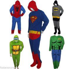 Superhero Sleepsuits Official Onesie Boys Size XS s Teens Adult M L XL | eBay