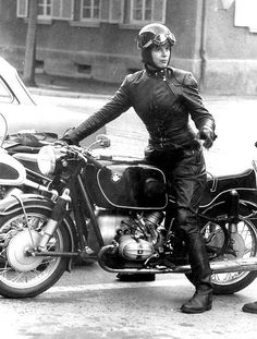 Anke Eve Goldmann ~ She's 6 feet tall, making the BMW look small. In 1958, she helped found the Women's International Motorcycle Association in Europe. Anke Eve Goldmann was also friends with author  André Pieyre de Mandiargues and the inspiration for the main character, 'Rebecca', in his most popular book 'The Motorcycle' written in 1963. The book was adapted for the 1968 film 'The Girl on a Motorcycle' starring Marianne Faithful, what a trail blazer!