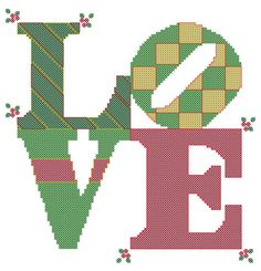 Cross Stitch Pattern Love for Christmas Holiday Decor, Holiday Gift - Digital File for Instant Download