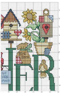 Schema punto croce Alfabeto bird 4