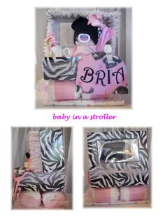 Baby Shower Diaper Baby Girl in a Stroller by thecraftersgarden