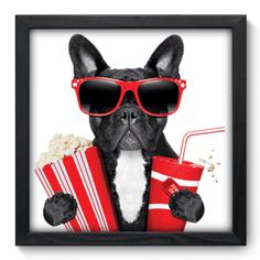 'Party Time', French Bulldog illustration, Quadro Decorativo - Cachorro - 027qdh