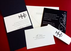 Black and ivory wedding invitation! Very formal clean design!_A to Z Paperie
