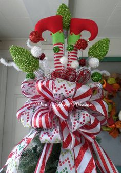 Elf Legs Christmas Tree Topper READY TO SHIP by DecoMeshObsession
