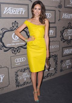 Louise Roe in a bright yellow dress