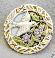 Handcrafted Art Stone Button Dove w Sprig of Flowers Free US Shipping | eBay
