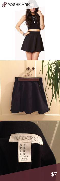 Forever 21 Black Skater Skirt High-waist black skater skirt. Throw it on with a crop top and sneakers, or tuck in a denim shirt and wear with over the knee boots! Never worn. Forever 21 Skirts Mini