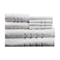 $31.95 for White and Silver 8-Piece Egyptian Cotton Towel Set
