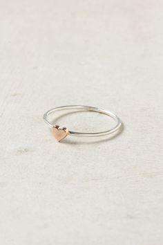 Wee Heart Ring, Rose Gold, Minimal Ring