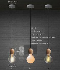 1X New White Oak pendant lamp & Edison E27 bulb Suspension pendant Hanging light
