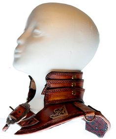 Handcrafted Leather Steampunk Armour Gorget Collar - left view worn