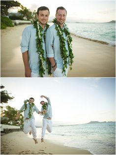 This is the true hawaiian leis grooms should wear.  I wouldn't mind this but not sure it would fit the formal suit we want to wear.
