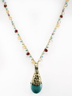 """CHARMED"""" Long Gemstone Beaded Necklace with Turquoise Drop Pendant - 30"""