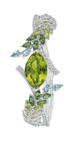 GABRIELLE'S AMAZING FANTASY CLOSET | Chanel Brins de Printemps Peridot, Diamond & Aquamarine Bracelet mounted in 18k White Gold.