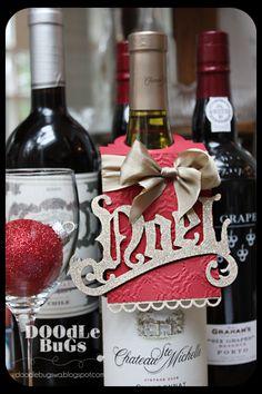 wine bottle Tag- Tim Holtz Vintage Noel Bigz Die