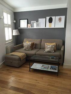 dco salon gris avec un canap droit rembour tabouret et table basse rectangulaire - Deco Salon Bleu Gris