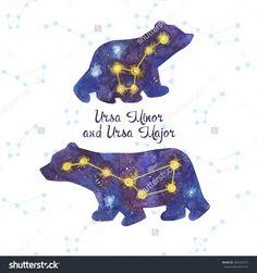 stock-vector-ursa-major-and-ursa-minor-cute-watercolor-polar-bears-the-great-bear-stars-vector-card-with-385439773.jpg (1500×1600)