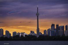 Toronto sunset | Flickr - Photo Sharing! Phil Marion Purple Sky, Night Skies, Cn Tower, Ramadan, Toronto, Explore, Sunset, Building, Travel