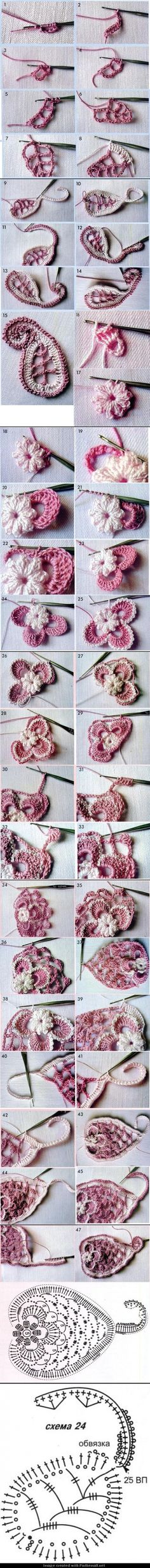 More divine irish crochet lace Irish Crochet Tutorial, Irish Crochet Patterns, Crochet Motifs, Crochet Diagram, Freeform Crochet, Crochet Stitches, Knitting Patterns, Crochet Paisley, Crochet Flowers