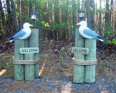 "DRIVEWAY NAUTICAL DECORATIONS | MATCHING DRIVEWAY SET - 2 SEAGULLS WITH ""WELCOME"" SIGNS AND/OR HOUSE ..."
