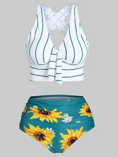 OFF] Striped Sunflower Criss Cross Tummy Control Bikini Swimwear Cute Swimsuits, Women Swimsuits, Modest Swimsuits, Plus Size Outfits For Summer, Bridesmaid Swimsuit, Mix And Match Bikini, Bikini Fitness, Striped Bikini, Sunflower Print