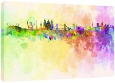 MOOL Large 32 x 22-inch London Skyline in Watercolour Canvas Wall Art Print Hand Stretched on a Wooden Frame with Giclee Waterproof Varnish Finish Ready to Hang MOOL http://www.amazon.co.uk/dp/B00I7XR4TM/ref=cm_sw_r_pi_dp_ycUrub15BHAZD
