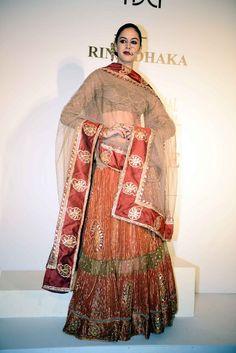 Rina Dhaka at Delhi Couture week 2014.  #perniaspopupshop #designer #RinaDhaka #label #Indian #beautiful #Delhi #coutureweek #love #fashion #style #exquisite #vibrant #bold #artistic #appealing