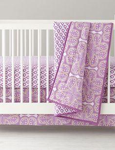 Lavender Mosaic Paisley Crib Blanket