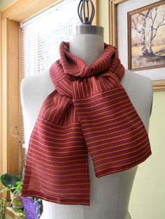 Paprika Color With Orange Stripes Silk Chiffon Scarf by Olimpias