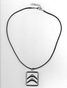 Unisex Black Leather Necklace with Citroen Chevrons Pendant Leather Necklace, Dog Tag Necklace, Unisex Style, Dog Tags, Chevron, Black Leather, Stainless Steel, Pendant Necklace, Ebay
