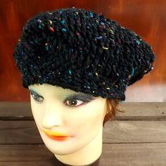 Crochet Beret Hat Crochet Hat Womens Hat Womens Crochet Hat Crochet Beret Hat Black Tweed Hat Black Hat CHRISTINE Crochet Hat by strawberrycouture by #strawberrycouture on #Etsy