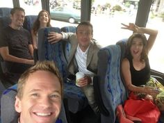 """How I Met Your Mother"" gang. Either Jason Segel is posing like Marshall or he really does have to keep his eyes open like Marshall! Hahaha."