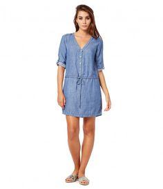 Linen Denim Tencel Roll Up Sleeve Shirt Dress - Dresses & Jumpsuits - Womens   Michael Stars