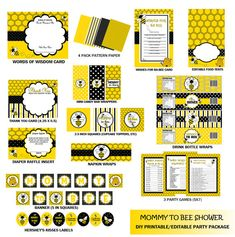 Mommy To Bee Baby Shower Party Pack Favors Instant Download