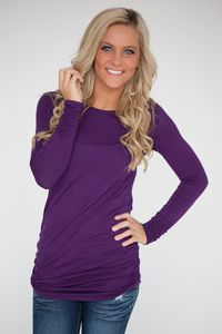Long Sleeve Ruched Knit Tunic - Eggplant