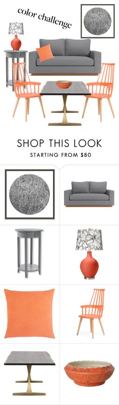 """Color challenge: gray&peach"" by kennycoptero on Polyvore featuring interior, interiors, interior design, home, home decor, interior decorating, Wendover Art Group, L.L.Bean, Barneys New York and gray"