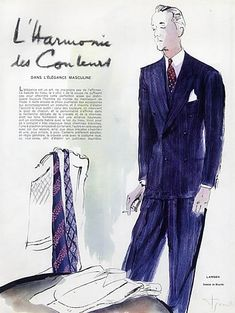 Larsen &  Kriegck 1938 Lanvin & O'Rossen (Men's Fashion) René Bouché, 4 Pages