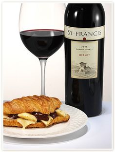 CHOCOLATE & BANANA GRILLED CHEESE    Melted Ile de France Brie and Cocoa Cardona (goat cheese coated in cocoa & black pepper) w. Dark Chocolate & Bananas on Griddled Croissant    paired with SONOMA COUNTY MERLOT  #tastesonoma