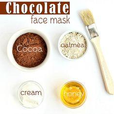 DIY Skin Care Tips : Chocolate Face Mask Ingredients Chocolate Oatmeal Face Mask Chocolate Facial, Chocolate Face Mask, Chocolate Oatmeal, Homemade Chocolate, Delicious Chocolate, Homemade Oatmeal, Healthy Chocolate, Homemade Acne Mask, Homemade Facials