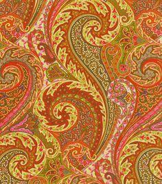 Upholstery Fabric-Williamsburg Jaipur Paisley Tumeric