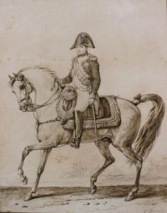 CARLE VERNET (1758-1836) « Napoléon à cheval » Lavis brun sur esquisse au crayon noir 33 x 26 cm Signé « C.Vernet » en bas à droite Insolé, quelques tâches Provenance : Famille du Maréchal Ney, Charles-Aloÿs Ney, puis par descendance.