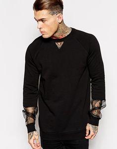 Enlarge ASOS Longline Sweatshirt With Organza Sheer Sleeve Panels