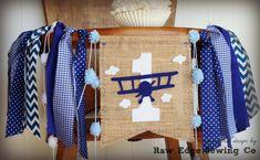 Airplane Birthday Banner Highchair High Chair by RawEdgeSewingCo