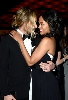 Marco Perego and Zoe Saldana attend the 2015 Vanity Fair Oscar Party hosted by Graydon Carter at the Wallis Annenberg Center for the Performing Arts on February 22, 2015 in Beverly Hills, California.