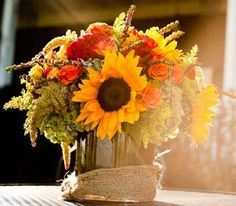 fall wedding flowers autumn flowers sunflowers reception wedding flowers,  wedding decor, wedding flower centerpiece, wedding flower arrangement, add pic source on comment and we will update it. www.myfloweraffair.com can create this beautiful wedding flower look.