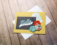 """Golden Hello With Rhinestones and Flowers, Keep in Touch, Just Because, Friendship. Thinking of You, Encouragement Note Card - 5.5"""" by 4.25"""" by PaperDahlsLLC on Etsy"""