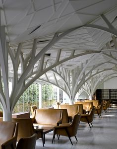 Cafe in the trees Interior, Outstanding Restaurant Interior Design Ideas: Bar Design The Tote India Serie Architects Meuble Furniture Decoration Restaurant, Restaurant Interior Design, Modern Interior Design, Interior Architecture, Interior And Exterior, Restaurant Restaurant, Modern Interiors, Pavillion, Organic Structure